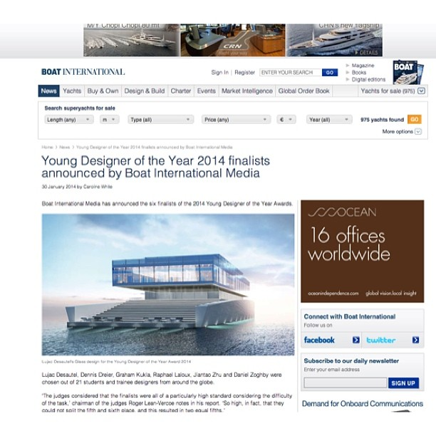I am really excited to tell you that I have been nominated as a finalist for Young Designer of the Year by Boat International Magazine and an elite panel of Superyacht designers. I will post more details about my design but for now I just want to thank you all for your interest, knowledge, and loyalty to The Yacht Collective. #superyacht#design#yachtdesign#youngdesigneroftheyear#boatinternational#lujacdesautel#theyachtcollective#glass