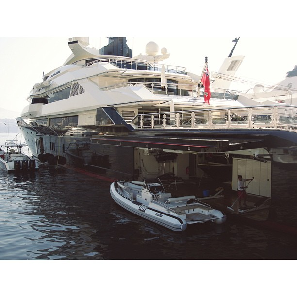 Morning washdown on M/Y Alfa Nero. All hands on deck!  Designer: Leonard & Nuvolari  Builder: Oceanco