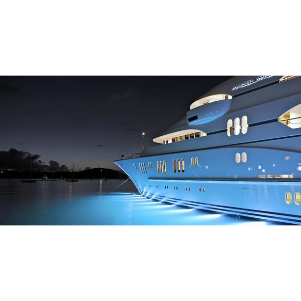 Night lights always add that special touch to any yacht. Mmmm… It would be interesting to do research into design possibilities with lighting yachts. M/Y Madsummer Photograph by Klaus Jordan
