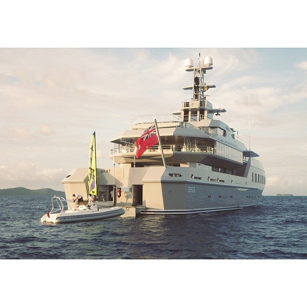 One of the most coolest yachts I have been anchored next to is Skat. The yacht is an interpretation of a military vessel. What do you guys think?   M/Y Skat (70m)  Espen Oeino  Builder: Lurssen  Launched: 2001