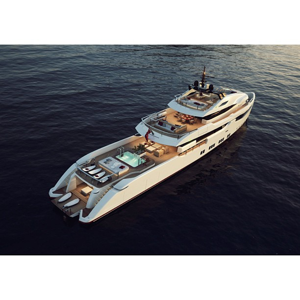 RMK's Explorer is the ultimate world traveler motor yacht. The forward positioning of the superstructure appears very aggressive at first glance but unlike Alfa Nero or another L&N yacht, she has very smooth and muscular lines. Designed by Hot Labs in conjunction with @denison_superyachts Well done.