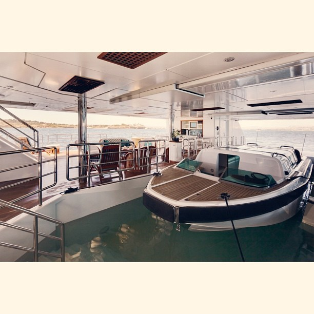 M/Y Pegasus V (ex: Princess Mariana)  Designer: Espon Oeino  Builder: Royal Denship    What do you prefer? Tender Garage or Indoor Swimming Pool? Or you can just have both aboard Pegasus V.     @theyachtguy I am now looking into Serene's salt water swimming pool. It could host a tender as well. Thanks for the correction. I did the research to get the facts straight.