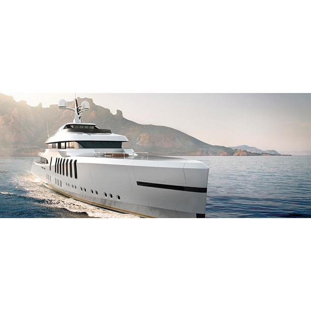 M/Y Caspian concept render  Develope by hydro-formed sculptures in the visionary office of Claydon Reeves. She conveys bold but confident lines that are clean and taut.  Render via Claydon Reeves