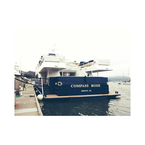 I came across M/Y Compass Rose today in the Sausalito Harbour near San Francisco, California. She is quite the explorer with a dry dock on the aft deck for a 30ft tender. She boast at least 60meters with a huge steel hull. I would love to take this in the ice.