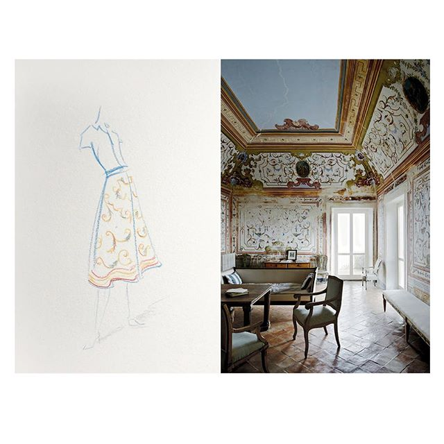 A sketch inspired by Cy Twombly's villa in Gaeta.  #livebeautifully#drawing#clothing#interiors