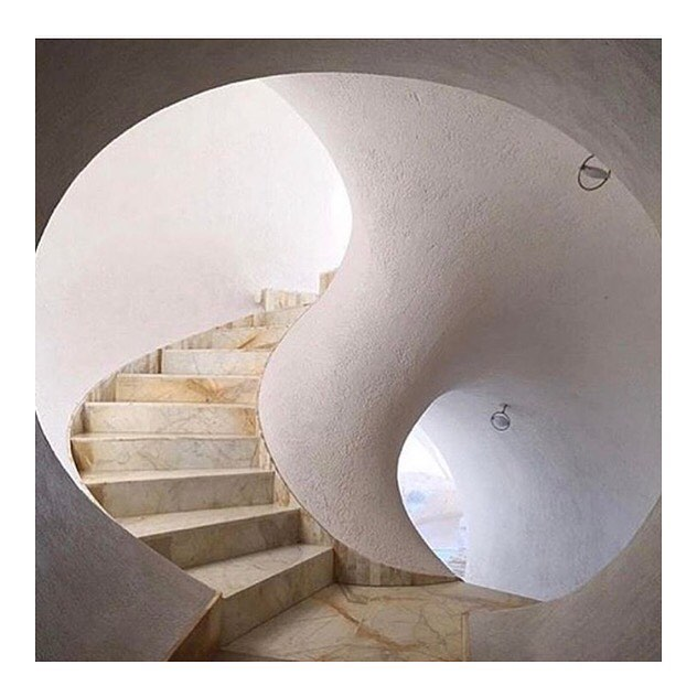 The stairs inside Maison Gaudet (bubble house) located on the Côte d'Azur.