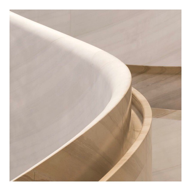 A detail of the carved Castagna stone handrail from Apple's Orchard Road interior in Singapore.