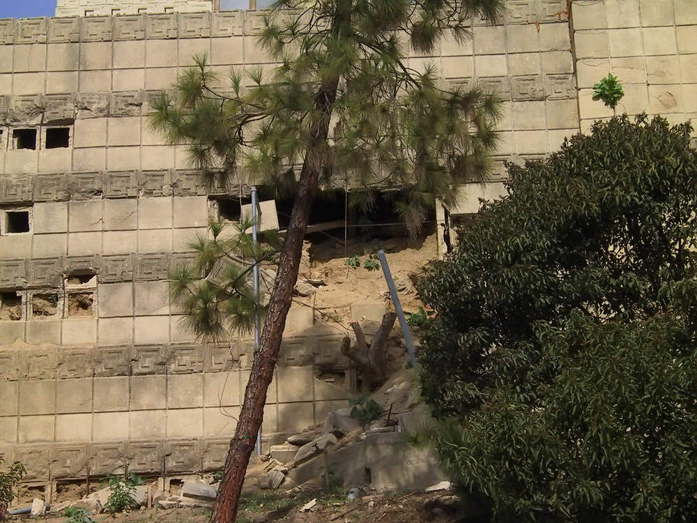 Damage on the the main retaining wall.