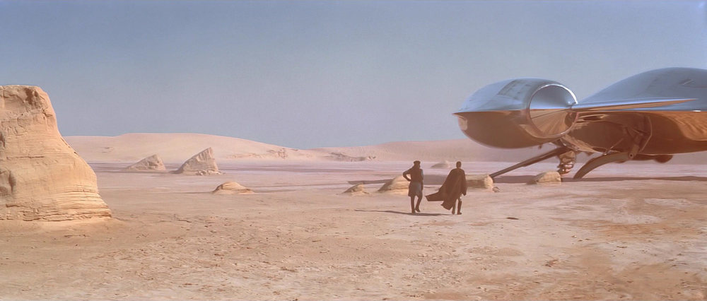 EXT. TATOOINE - DESERT - NABOO SPACECRAFT - DAY