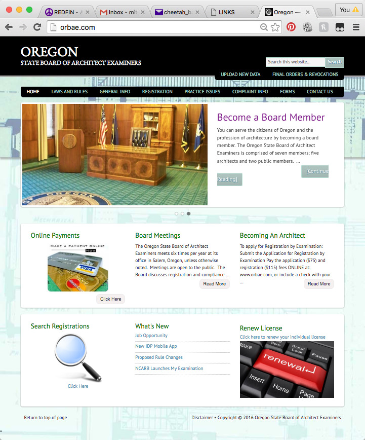 by the Oregon Board of Architectural Examiners (ORBAE). To access