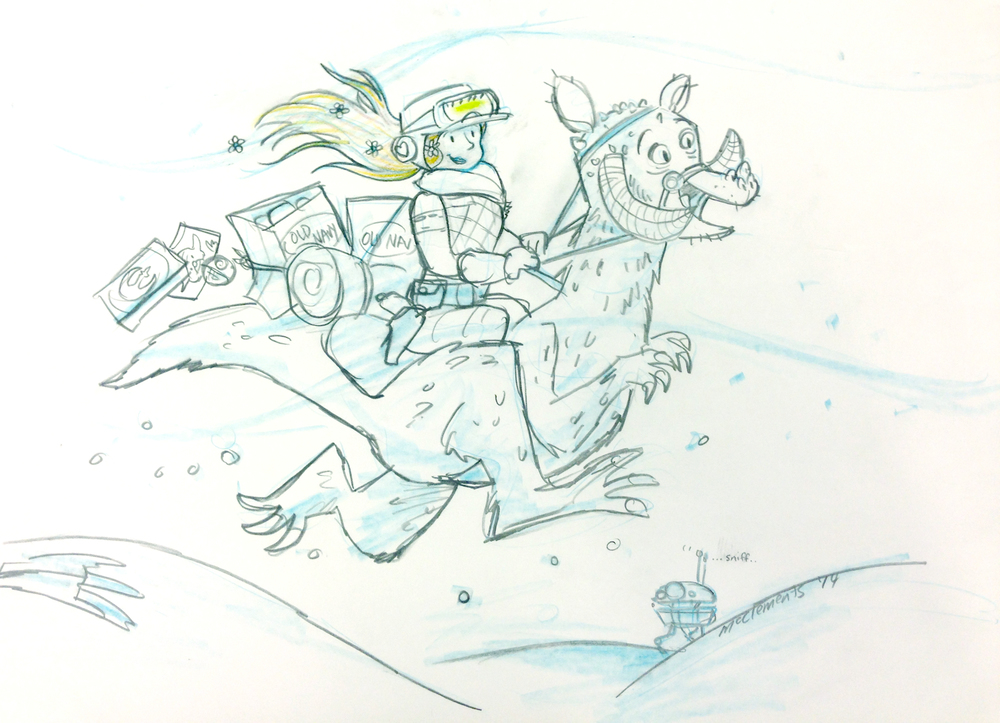 Here is departing gift that the talented George McClements, Disney character artist, drew for me.