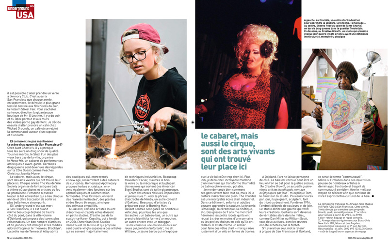 A spread from the article featuring photos taken at the Crucible, Aunt Charlie's Lounge, and Creative Growth in Oakland, California.
