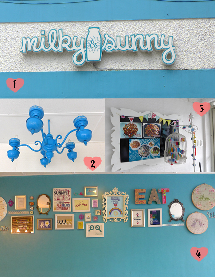 (1) Milky & Sunny logo in front of the store, (2) Shabby chic chandelier welcomes you as you enter into the resto, (3) Bulletin board for specials, (4) Artsy frames populate one of the blue walls of the resto