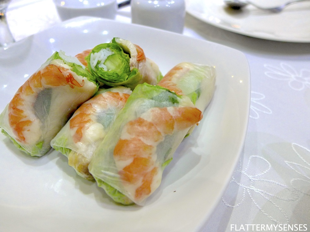 Goi Cuon   (Php 195)  fresh garden rolls with caramelized pork, steamed shrimp and rice vermicelli, served with peanut sauce.