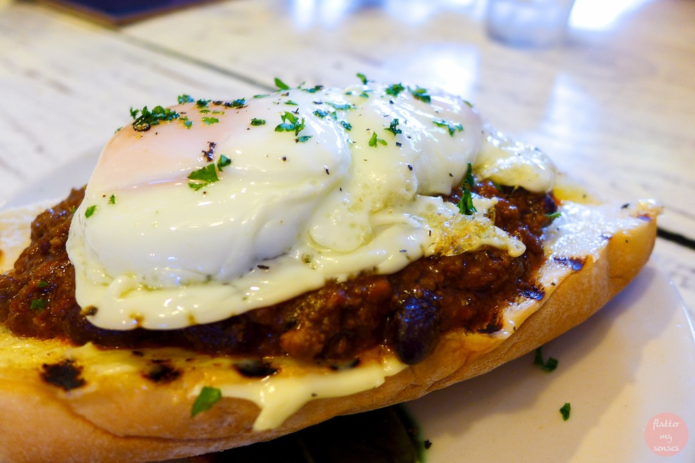 Gourmet Hotdog Sandwich with Chili con Carne and Sunny Side Up Egg (Php 250)