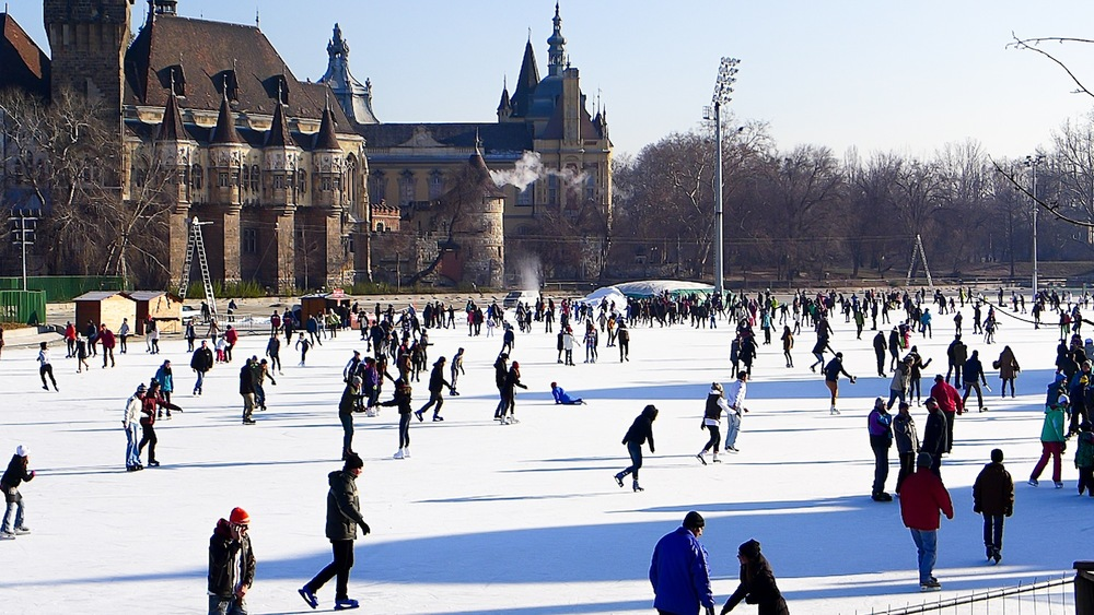 Varosliget Lake turned into a huge skating rink for the public during the winter
