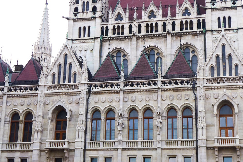 Intricate detailing of the facade of the Hungarian Parliament Building