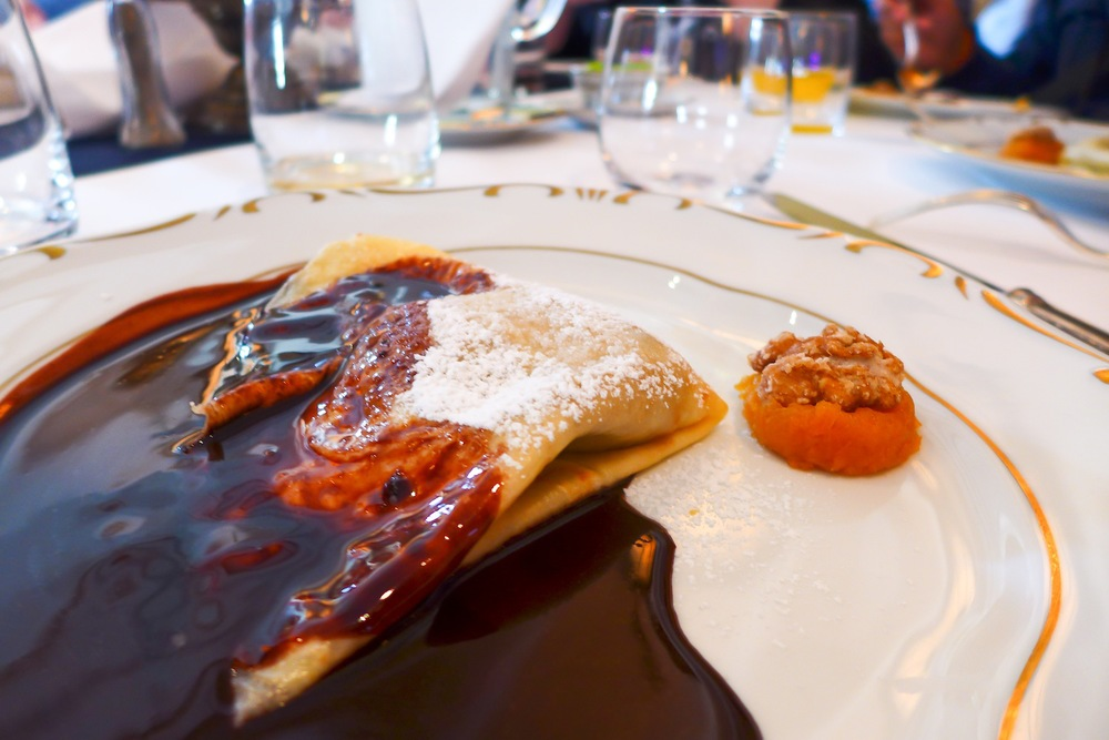 Classic Walnut Crepe with Flaming Dark Chocolate Sauce