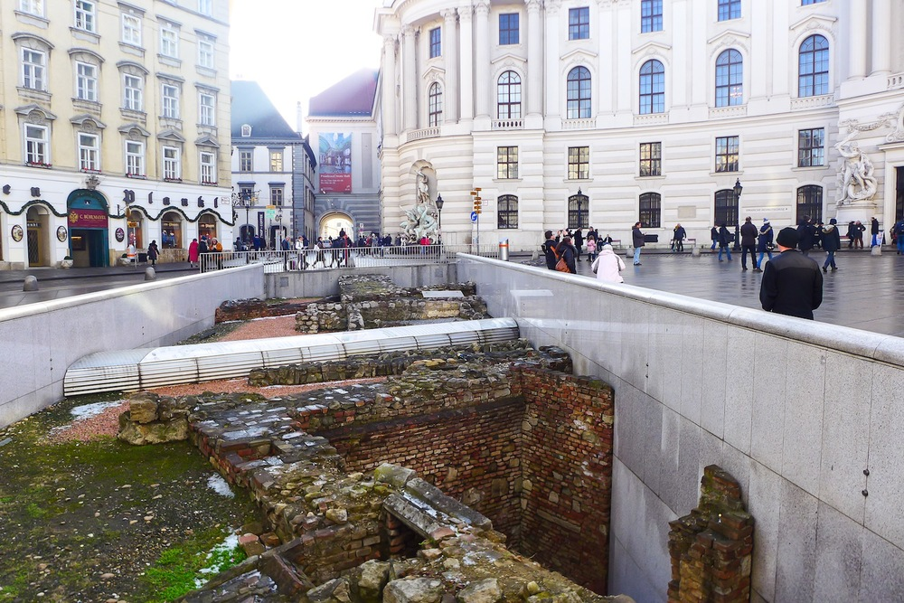 Roman ruins in front of the Hofburg Palace
