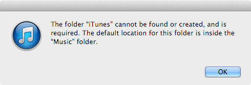 The iTunes error when your iTunes library is missing.