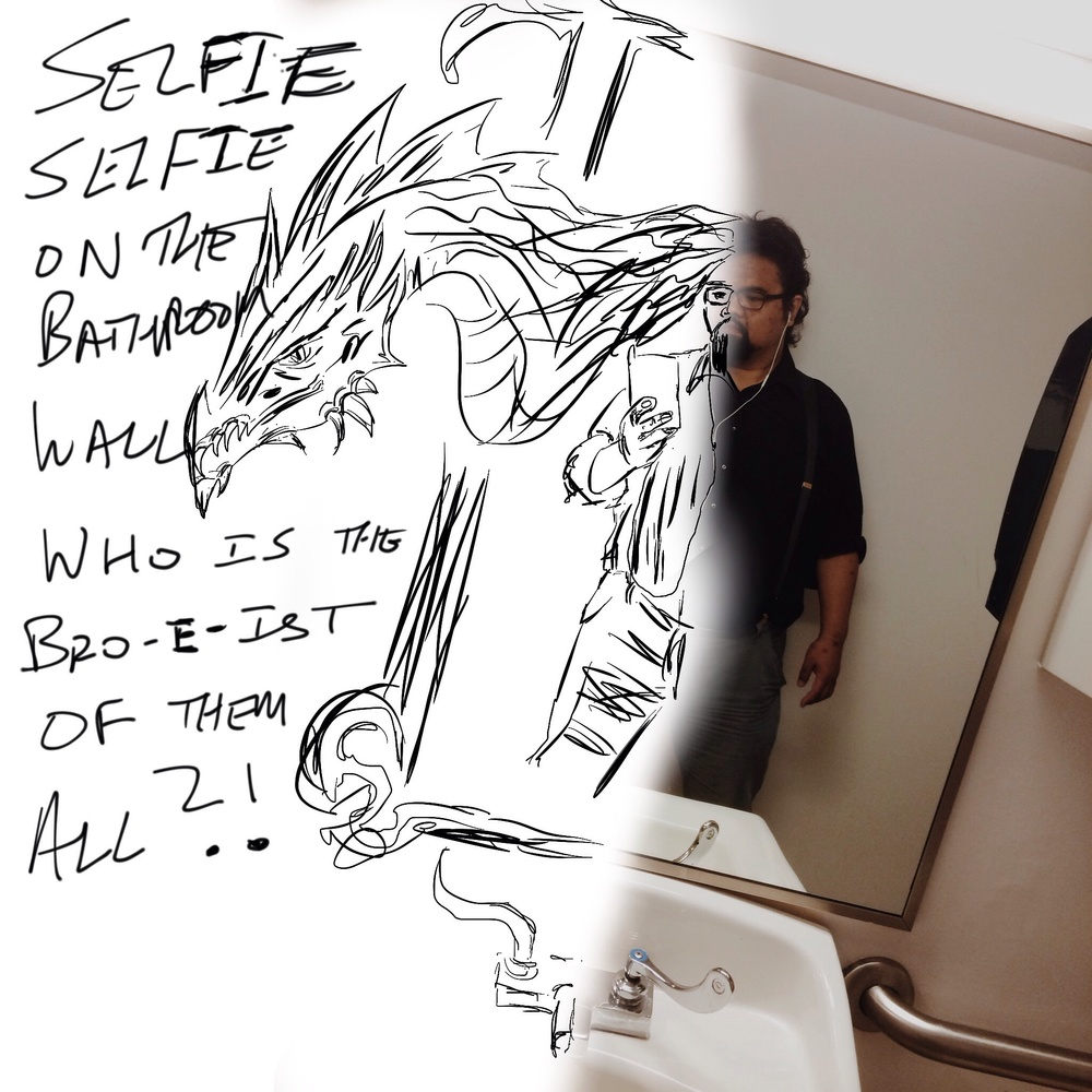 Selfie, selfie from the bathroom wall, who is the bro-e-ist of them all?!