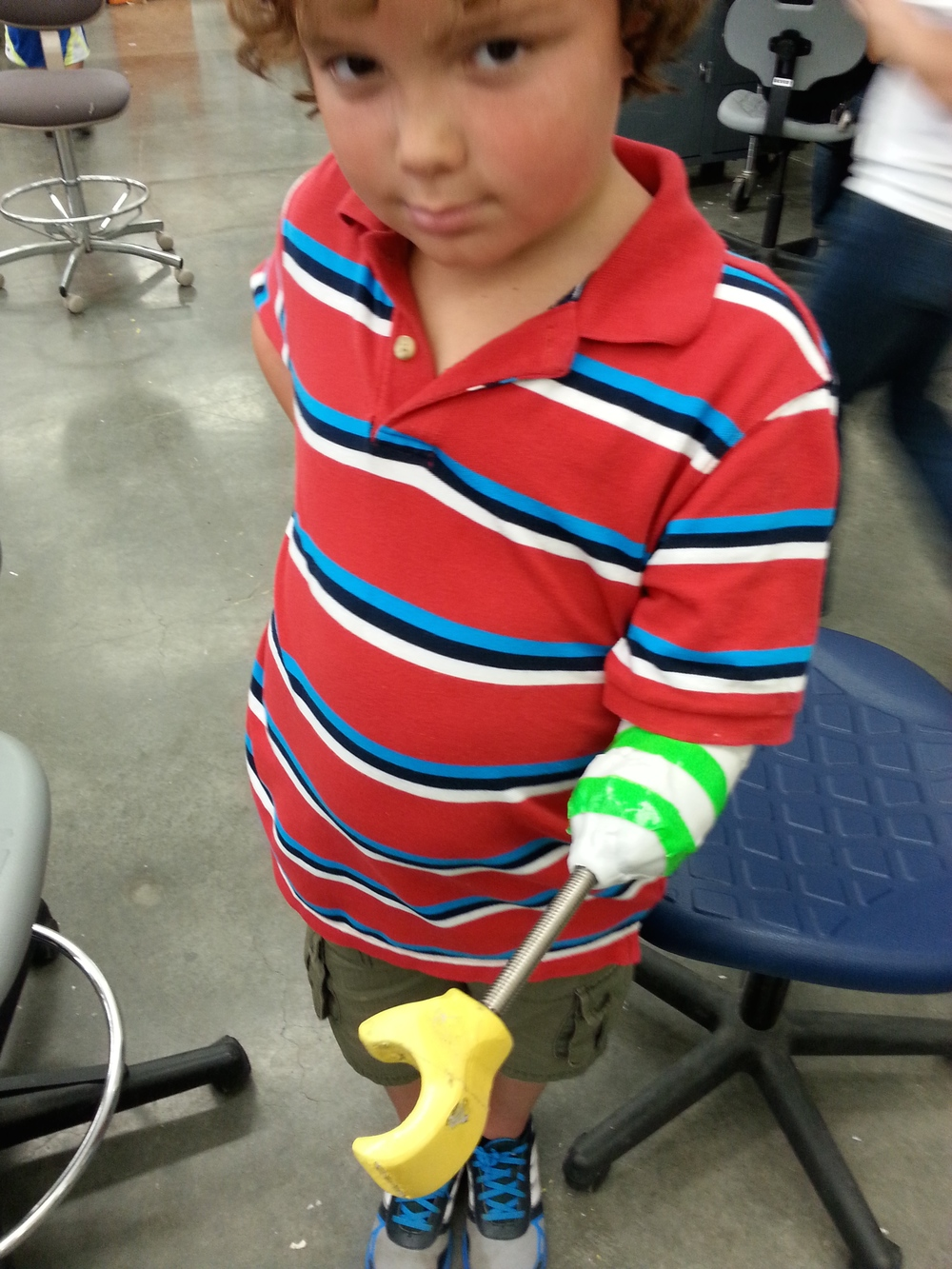 "Aiden's ""Lego Hand"" is one attachment for his body mod - the threaded rod is for interchangeable parts!"