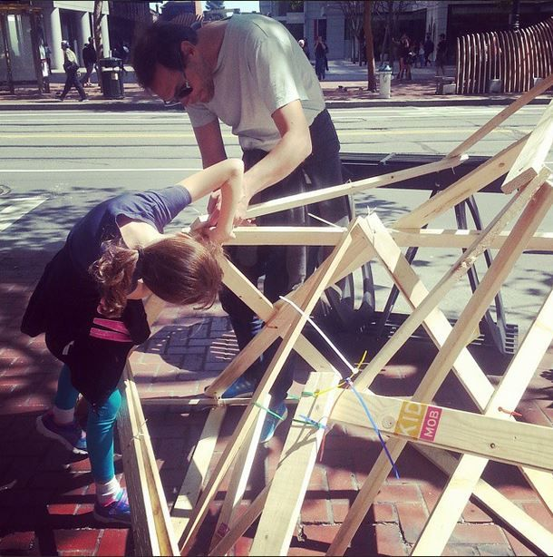Kids and their parents helped each other build!