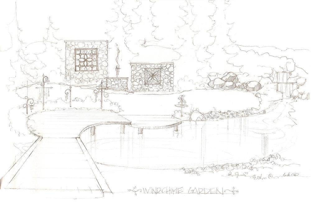 Wind Chime Garden Sketch