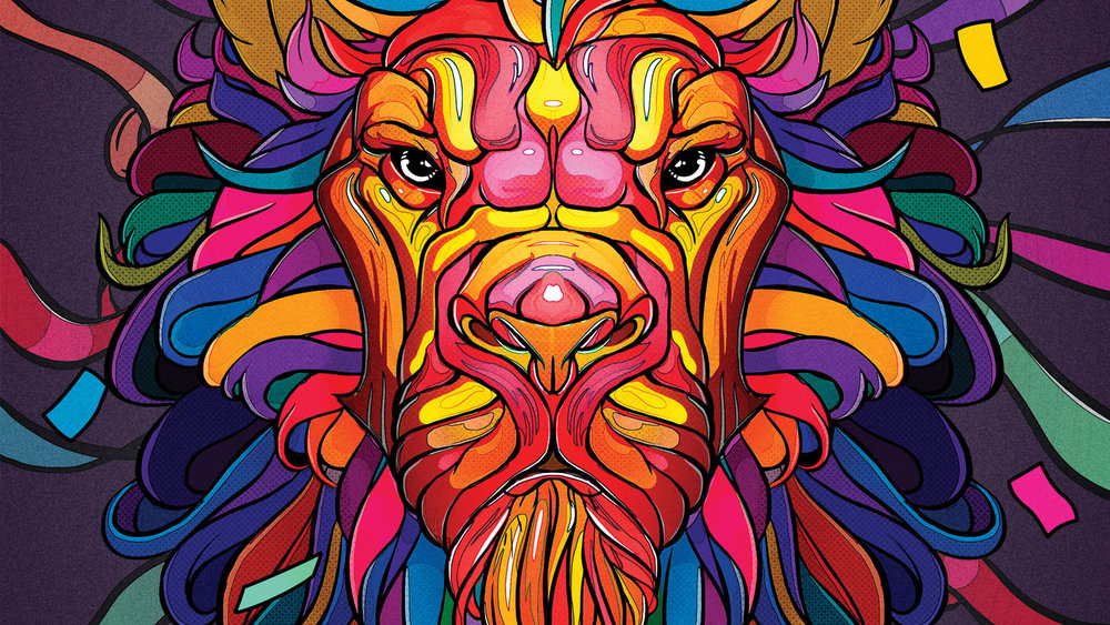 Photoshop Creative Magazine - Lion confetti.