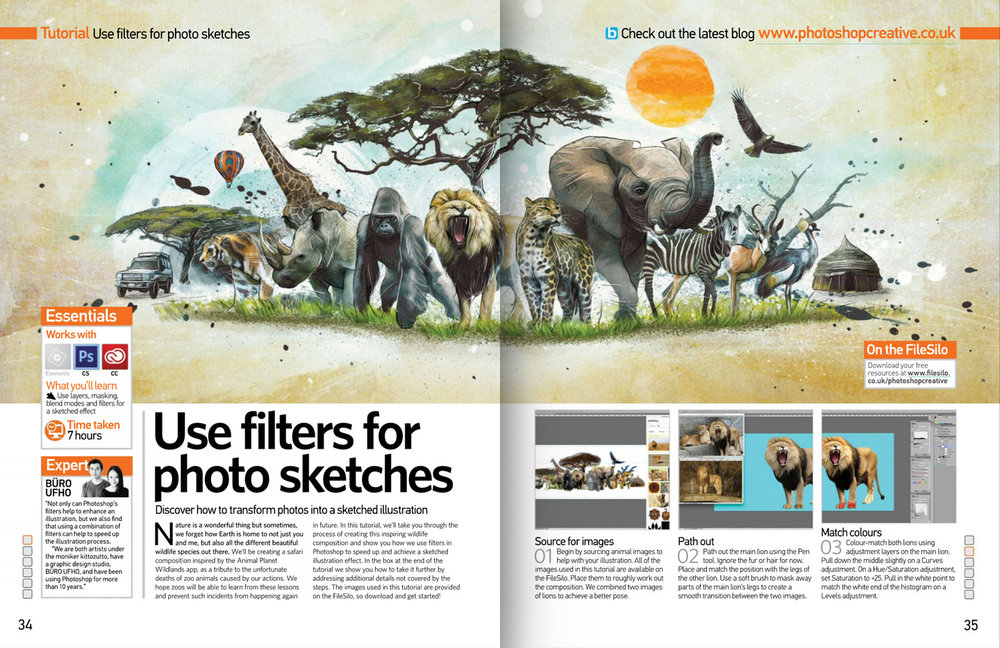 Safari magazine spread.