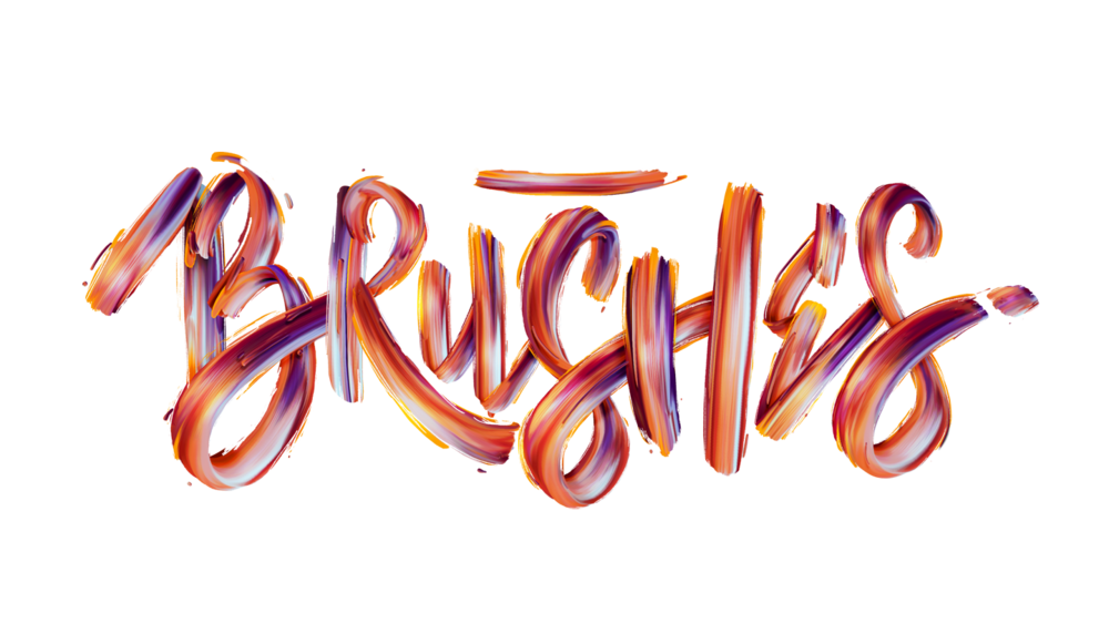 Brushes typographic illustration.