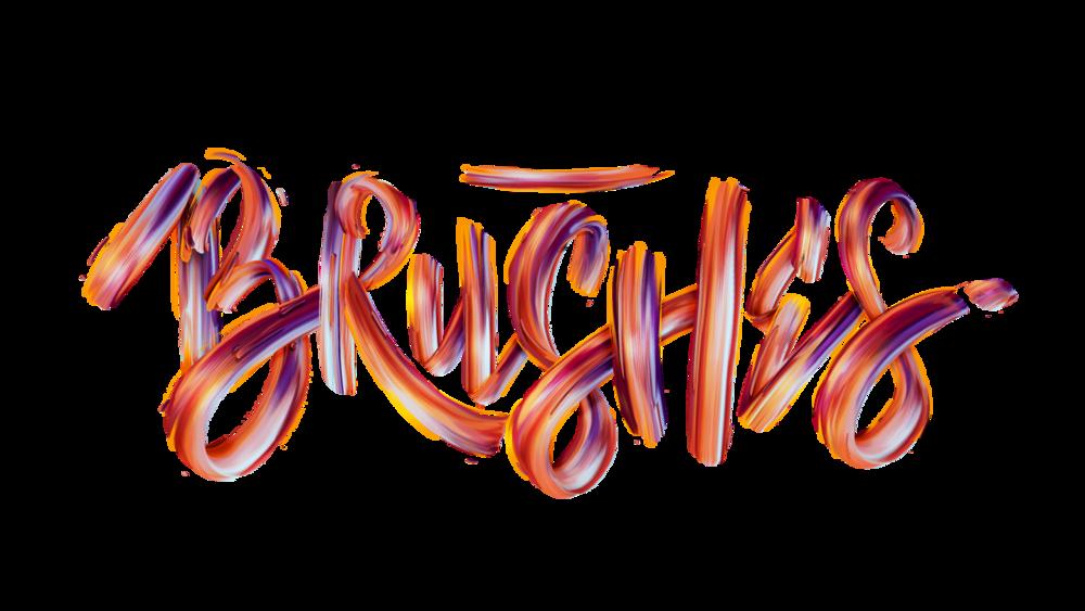 Brushes typographic illustration.