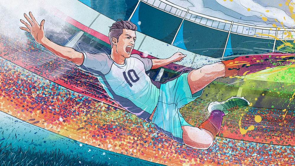 Photoshop Creative Magazine issue 141 soccer inspired ink splatter brush illustration artwork by Singapore based brand strategy and creative design consultancy, BÜRO UFHO.