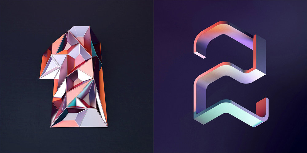 36 Days of Type 2016 - 3D typography numbers 1 and 2 visual.
