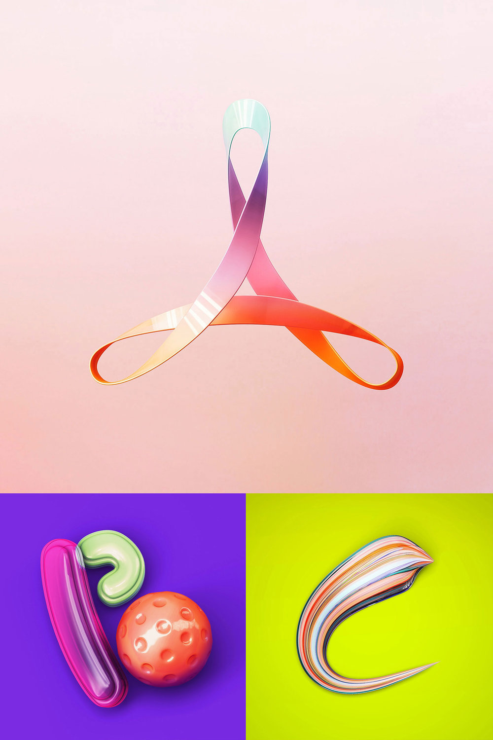36 Days of Type 2016 - 3D typography letters A, B and C visual.