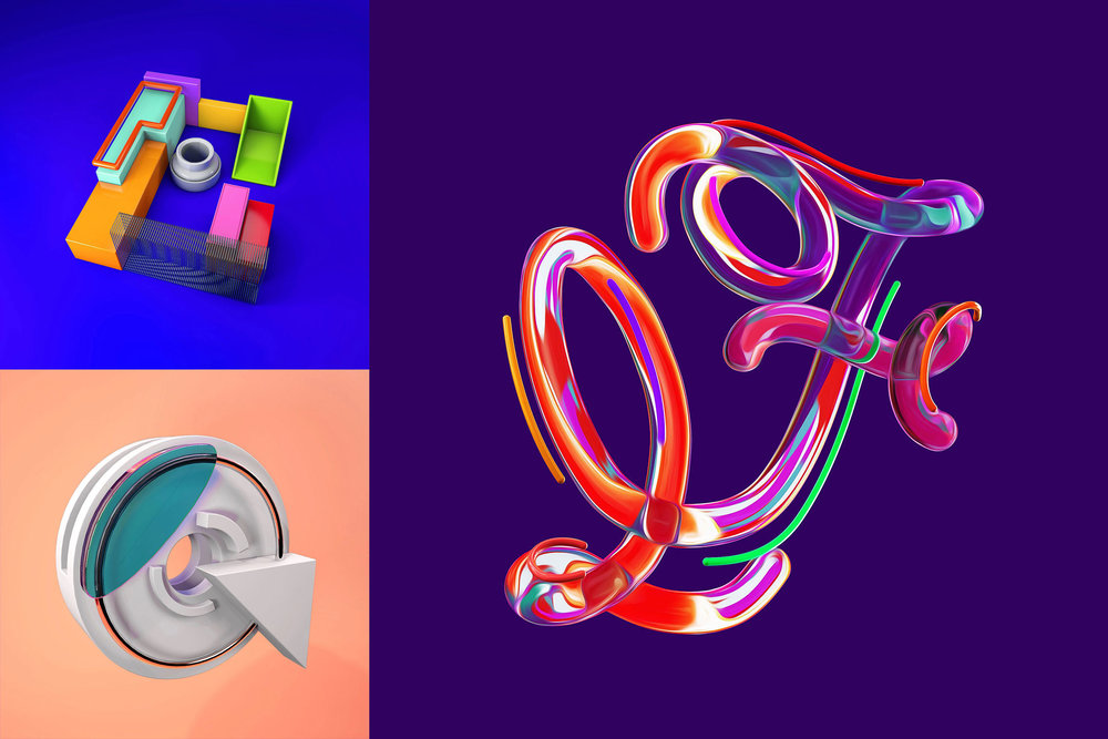 36 Days of Type 2016 - 3D typography letters E,F and G visual.