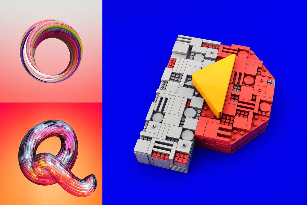 36 Days of Type 2016 - 3D typography letters O, P and Q visual.