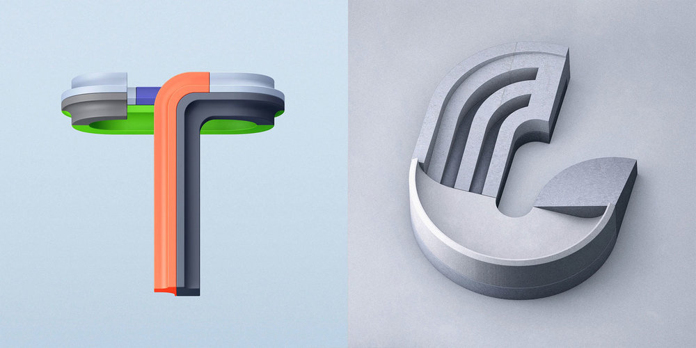 36 Days of Type 2016 - 3D typography letters T and U visual.