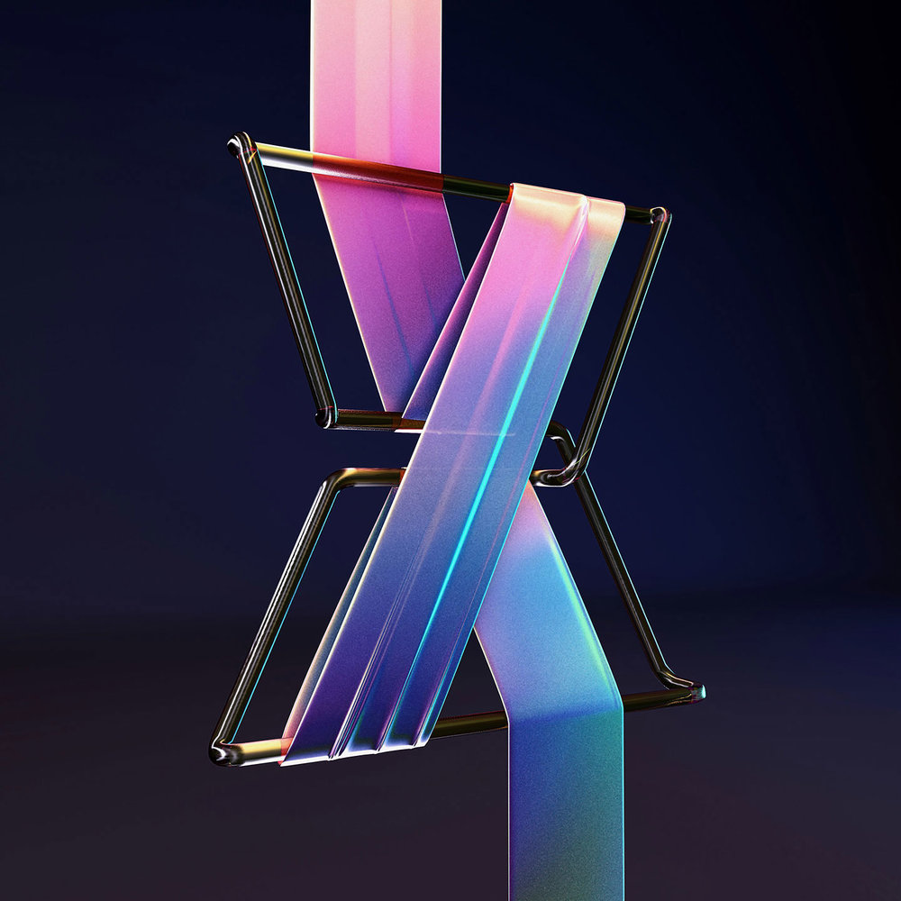 36 Days of Type 2016 - 3D typography letter X visual.