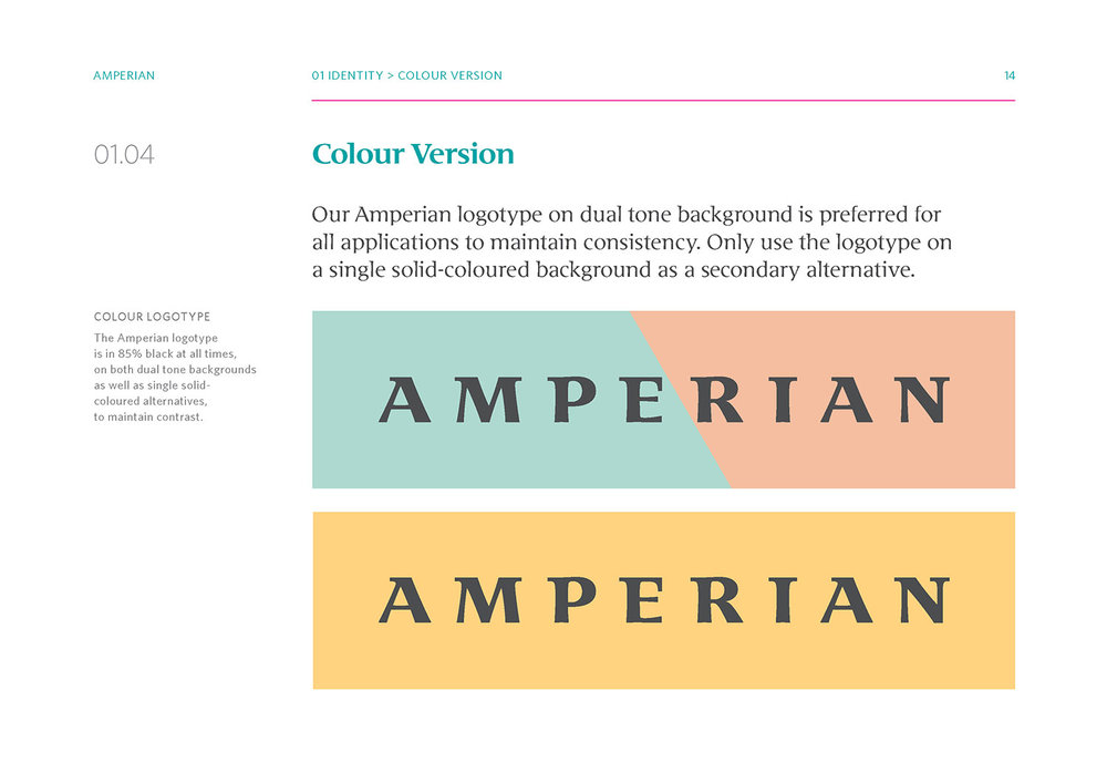 Amperian SG branding corporate identity design guide manual - Color version.