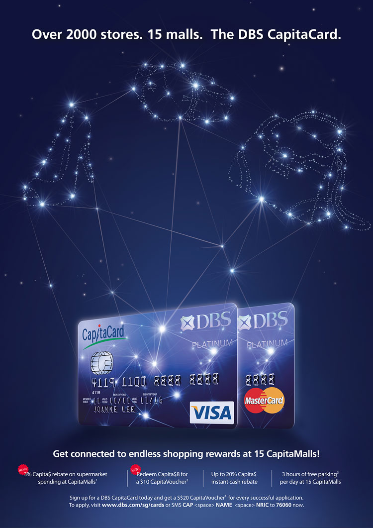DBS CapitaCard branding identity advertising key visual illustration - Constellation ad design by Singapore based brand strategy and creative design consultancy, BÜRO UFHO.