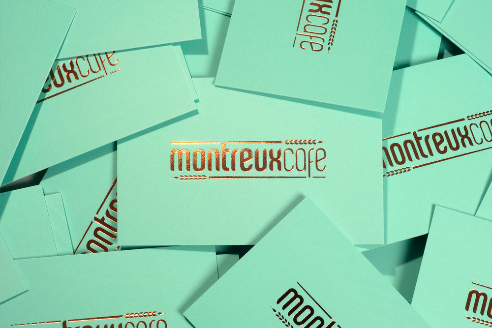 Montreux Café SG branding identity design - Business cards design by Singapore based brand strategy and creative design consultancy, BÜRO UFHO.