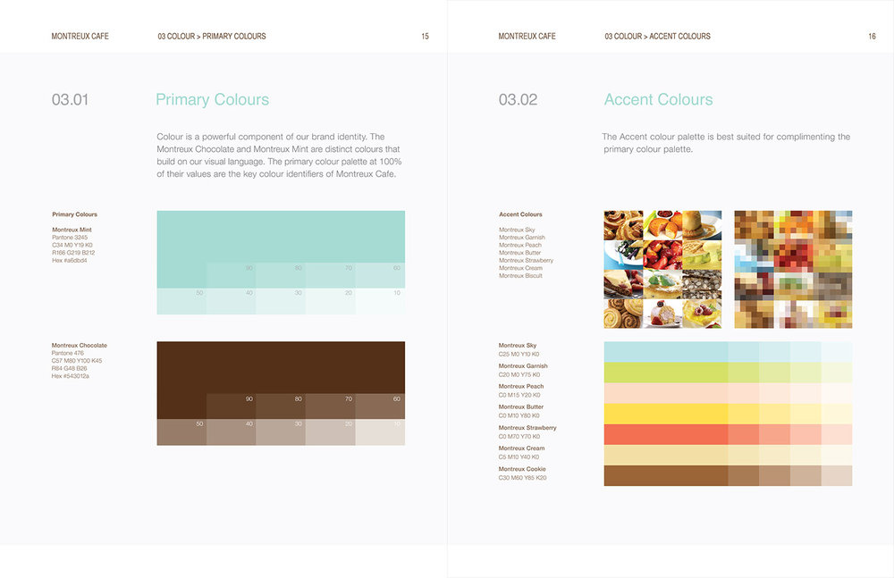 Montreux Café Identity Manual - Primary & Accent Colours.