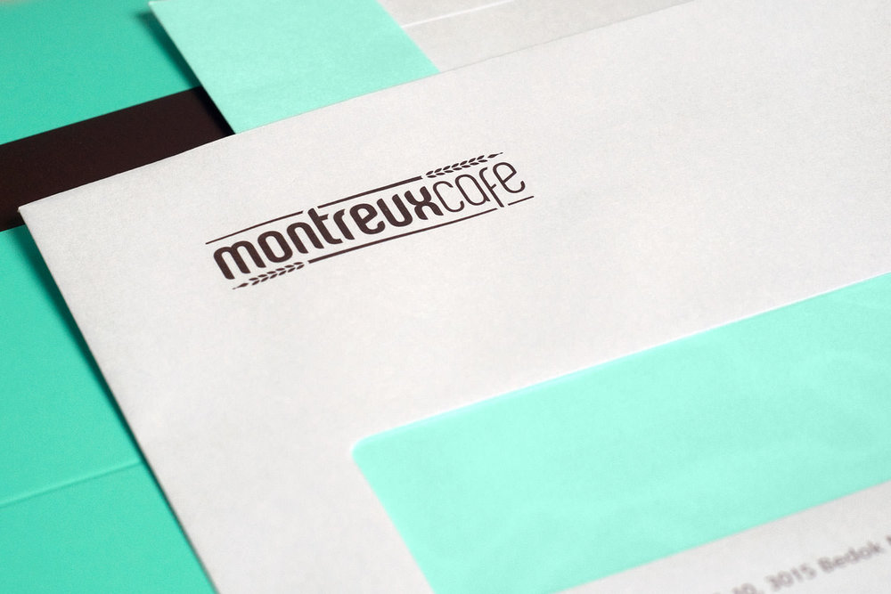 Montreux Café SG branding identity design - Envelope design.
