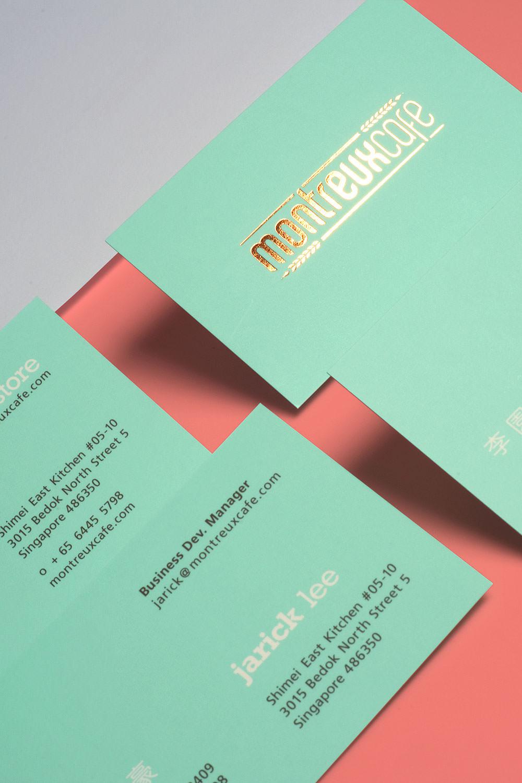 Montreux Café SG branding identity design - Business cards.