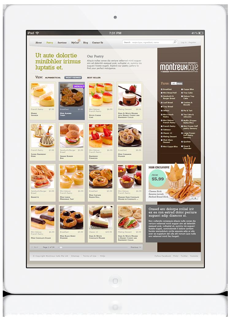 Montreux Café SG branding identity design - Product page web design.