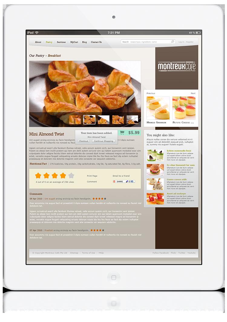Montreux Café SG branding identity design - Product details page web design.