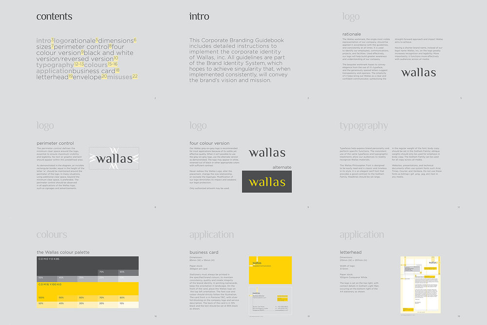 Branding identity design for Wallas Inc, an integrated agency in SG - Corporate identity guide manual design by Singapore based brand strategy and creative design consultancy, BÜRO UFHO.