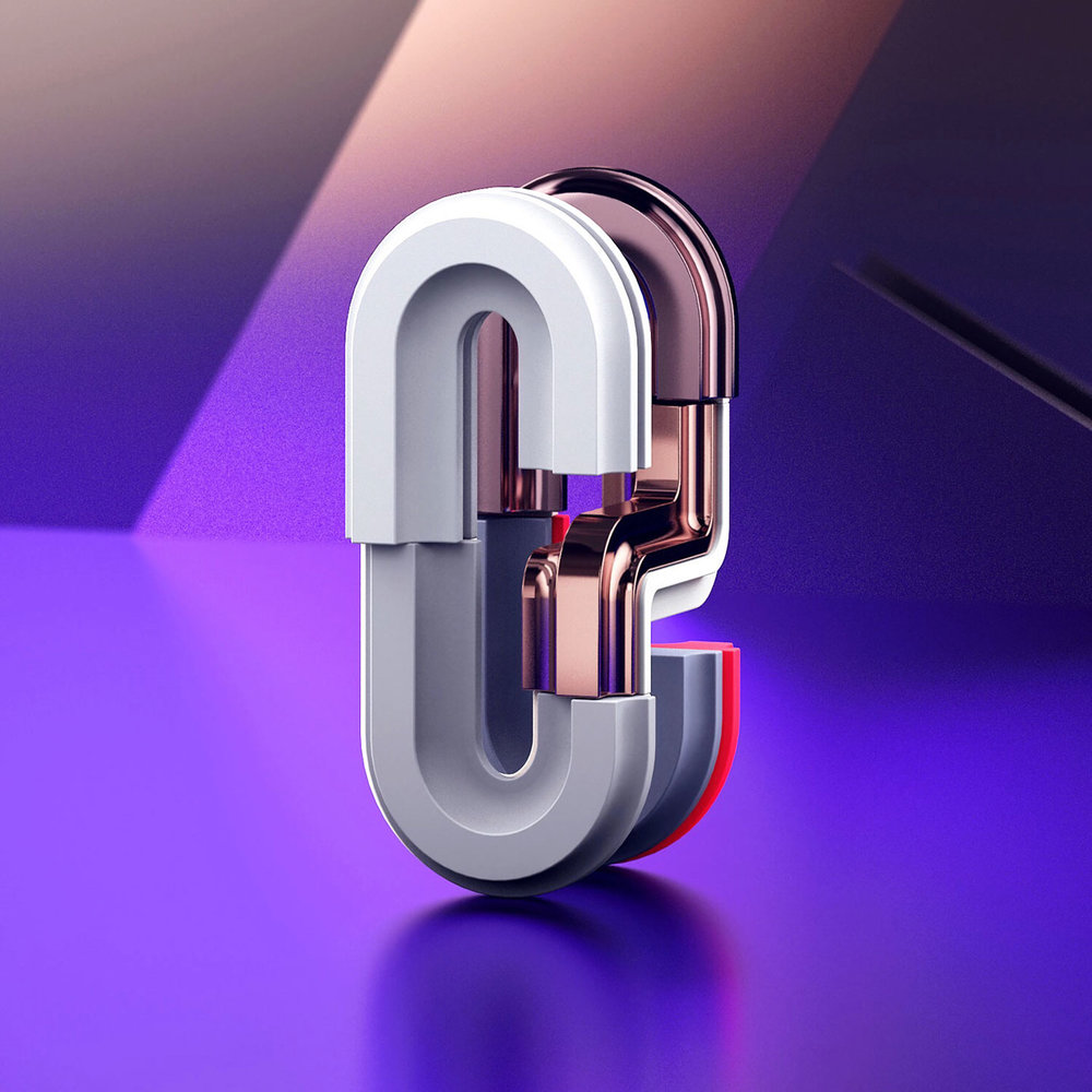 36 Days of Type 2018 - 3D number 0 design visual.
