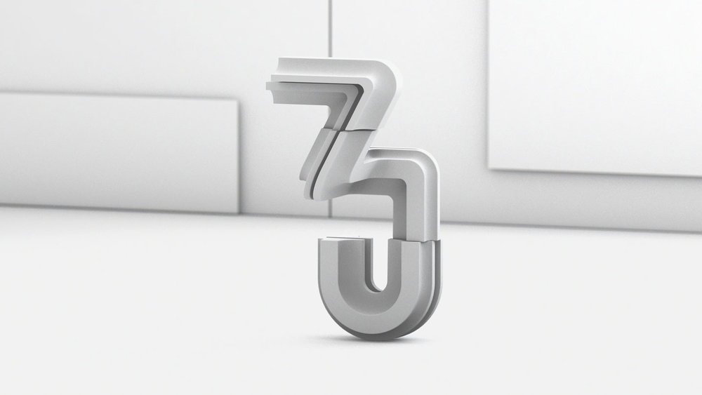 36 Days of Type 2017 - 3D number 3 design clay render visual.